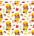 African American Little Girl Seamless Pattern vector image