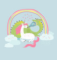 Cute cartoon dragon with unicorn vector image