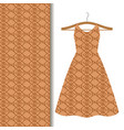 dress fabric with brown geometric pattern vector image