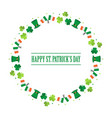 happy st patricks day flat design round frame vector image