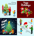 isometric new year concept vector image