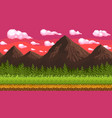 pixel art seamless background with mountains vector image
