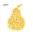 yellow pear silhouette created from dots vector image