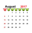simple calendar 2017 year august month vector image