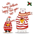 Funny penguin and polar bearChristmas hat vector image