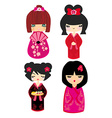 Kokeshi dolls in various designs isolated on white vector image