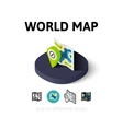 World map icon in different style vector image