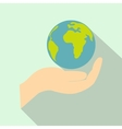 Globe in hand flat icon vector image