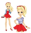Girl In Striped Shirt And Red Skirt vector image