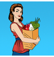 Woman with Shopping Bag Girl with Groceries vector image