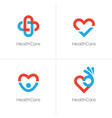 four health care logo with heart shape vector image