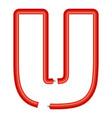 letter u plastic tube icon cartoon style vector image