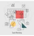 Social Marketing Search Engine Optimization Line vector image