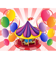 A carousel at the center of the balloons vector image vector image