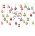easter eggs hanging on the wire background vector image
