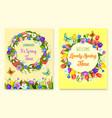 hello spring flower frame for greeting card design vector image
