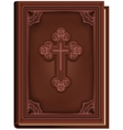 The Bible Closed book with a cross on the cover vector image