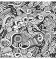 Cartoon cute doodles hand drawn Africa seamless vector image