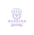 cute line logo design with ring with diamond vector image