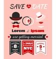 Hipster wedding invitation card vector image