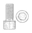 metal bolt with hex socket hand drawn sketch vector image