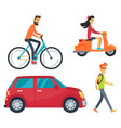 people with transport icons vector image