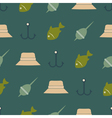 seamless background with fishing attributes vector image