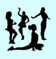 sport girls activity silhouette vector image