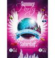 Summer beach party flyer design with disco ball vector image