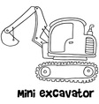 Mini excavator with hand draw vector image