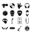 rock music icons set simple style vector image