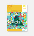brochure template tropical flowers parrots vector image vector image
