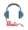 Headphones with cord and word music vector image