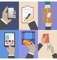 Set of business hands action concepts vector image