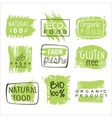 Bio Food Green Lables Set vector image