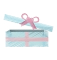 blue and pink gift box open icon vector image