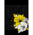 bouquet of hibiscus on black background vector image
