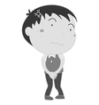 Boy holding pee in black and white vector image
