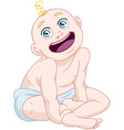 Cute Baby Boy Sitting With Diaper vector image