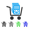 euro cash out cart flat icon vector image