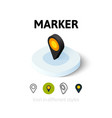 Marker icon in different style vector image