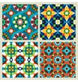 Moroccan mosaic seamless patterns vector image
