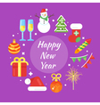new year 2017 with icons circle 2 vector image