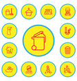set of 13 editable cleaning outline icons vector image