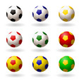 soccer ball set of balls different colors for vector image