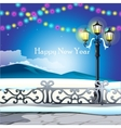 Winter landscape night sky with twinkle lights vector image