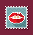 woman lips stamp female mouth shape with teeth vector image