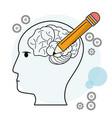 head profile human brain pencil outline vector image