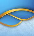 Blue folder golden metal borders lines template vector image vector image