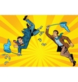 Competition two businessmen catching money with a vector image